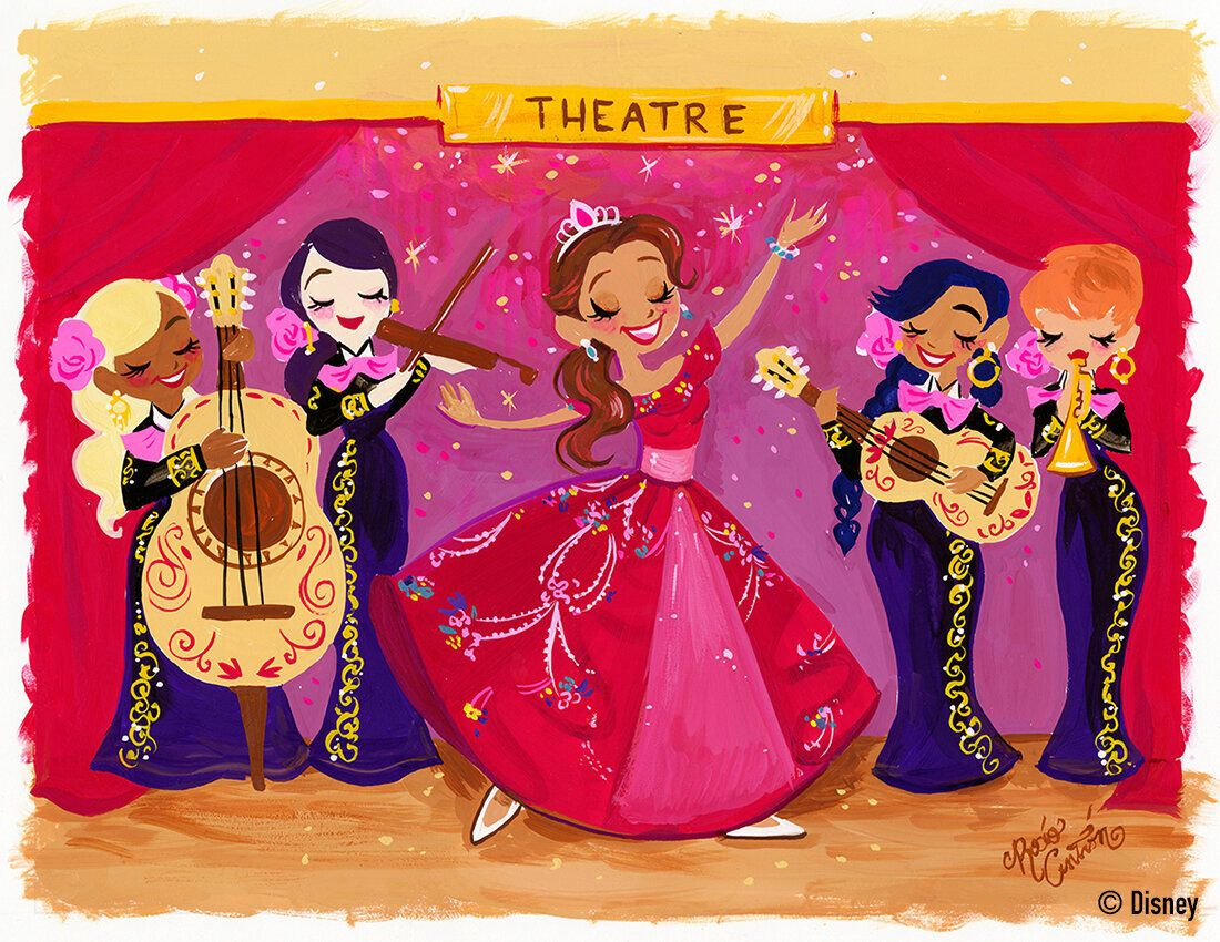 This painting depicts a real-life performance by voice actress Aimee Carrero, who dresses up as Disney princess Elena of Avalor. Carrero is the voice for the Latina princess character.