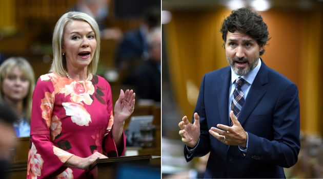 Deputy Conservative Leader Candice Bergen and Prime Minister Justin Trudeau are shown in a composite...