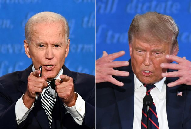 Former Vice President Joe Biden (left) and President Donald Trump meet at the first 2020 presidential...