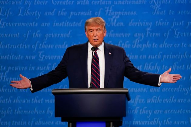 President Donald Trump gestures while speaking during the first presidential debate Tuesday, Sept. 29,...