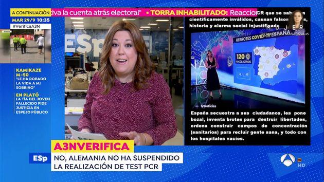 Patricia Escalona en 'Espejo Público' desmintiendo el bulo relacionado con Sandra