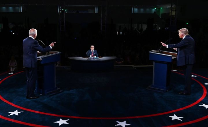 President Donald Trump and Democratic presidential candidate Joe Biden participate in the first presidential debate Tuesday, Sept. 29, 2020, at Case Western University and Cleveland Clinic, in Cleveland.