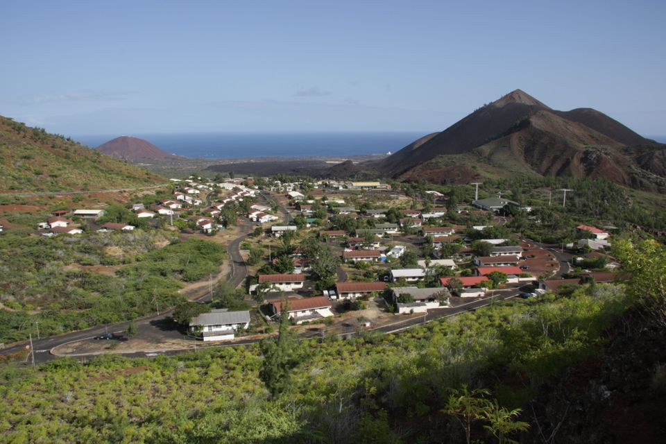 Two Boats Village and Sisters Peaks on Ascension Island South Atlantic Ocean