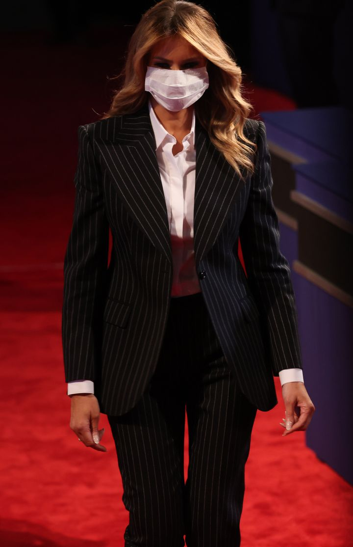 CLEVELAND, OHIO - SEPTEMBER 29:  First lady Melania Trump arrives to the presidential debate between President Trump and Biden at the Health Education Campus of Case Western Reserve University on September 29, 2020 in Cleveland, Ohio. This is the first of three planned debates between the two candidates in the lead up to the election on November 3.  (Photo by Win McNamee/Getty Images)
