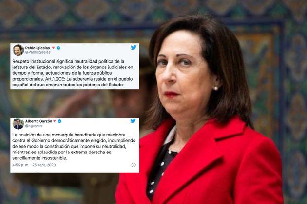 Margarita Robles critica los tuits de Iglesias y Garzón sobre el