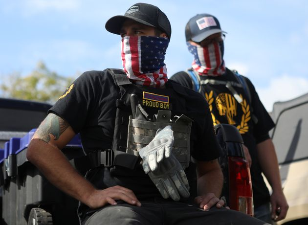 Members of the far-right group Proud Boys attend a rally in Portland, Oregon, U.S. September 26, 2020....