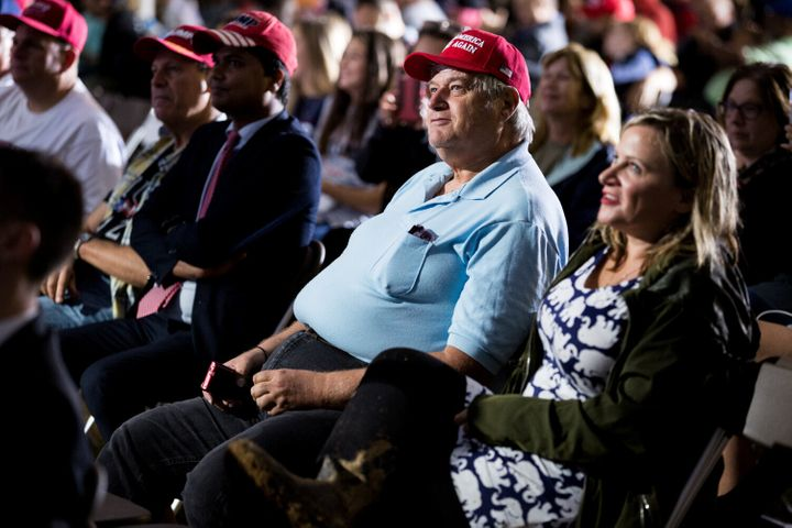 Fans of President Donald Trump in Lititz, Pennsylvania, watch a stream of the first presidential debate between Trump and Democratic nominee Joe Biden in Cleveland.