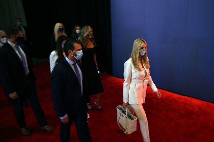 (From right) Ivanka Trump, Donald Trump Jr.,and Eric Trump are seen ahead of the first presidential debate at the Case Western Reserve University and Cleveland Clinic in Cleveland, Ohio, on Sept. 29.