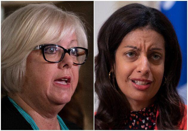 La ministre responsable des Affaires autochtones Sylvie D'Amours et la cheffe libérale Dominique