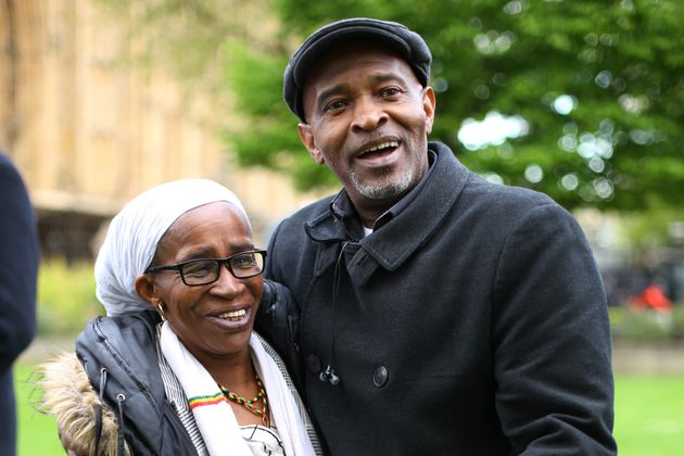 Members of the Windrush generation Paulette Wilson, 62, who arrived from Jamaica in 1968, and Anthony Bryan, aged 60, who arrived from Jamaica in 1965, during a photocall in Westminster, London, following a personal apology from immigration minister Caroline Nokes. Paulette died in August 2020.