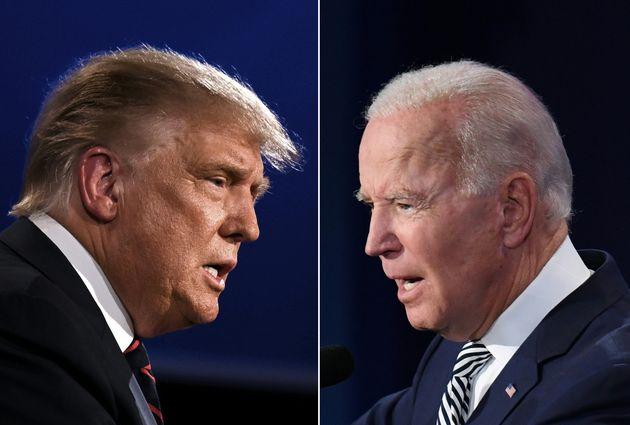 Donald Trump e Joe Biden em debate realizado na noite de ontem, terça-feira (29), nos Estados