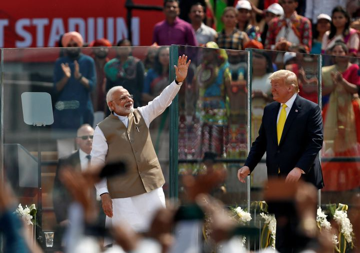 India Prime Minister Narendra Modi and President Donald Trump share authoritarian instincts -- and both could be emboldened by a Trump reelection. The two are seen here in Ahmedabad, India, earlier this year.