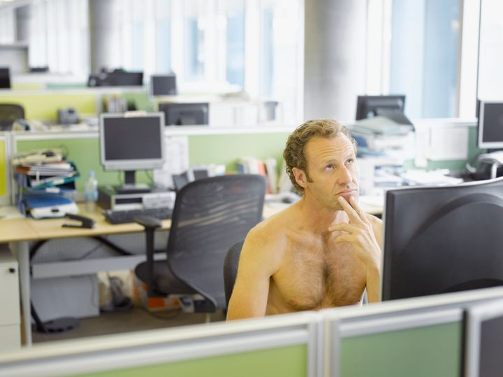 Being naked at work is a common dream scenario.