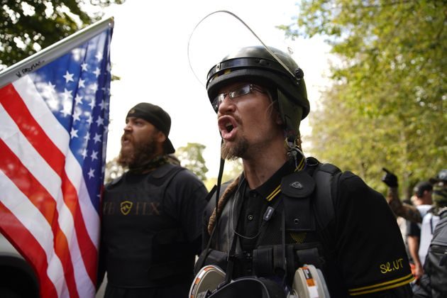 Members of the Proud Boys and other right-wing demonstrators rally on Saturday, Sept. 26, 2020, in Portland,...