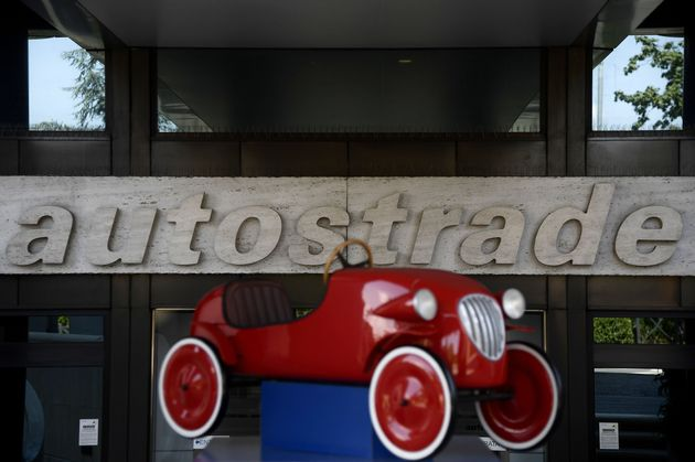 The headquarters with the logo of Italian infrastructure giant Autostrade per l'Italia, which operates...
