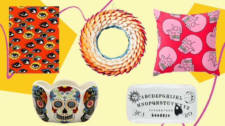 You can leave these Halloween-inspired wreaths, doormats and other decor out all year round.