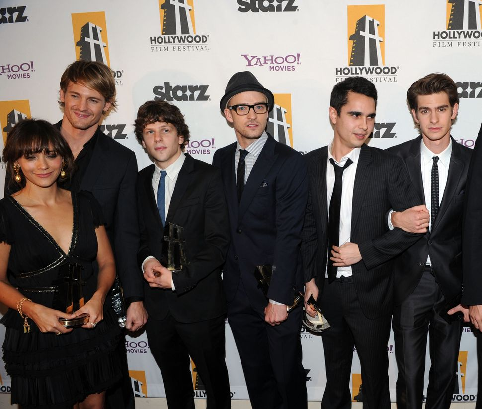Actors Rashida Jones, Josh Pence, Jesse Eisenberg, Justin Timberlake, Max Minghella and Andrew Garfield during the 14th annual Hollywood Awards Gala at The Beverly Hilton Hotel on Oct. 25, 2010.