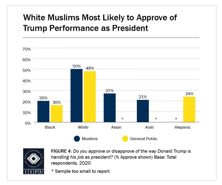 Looking at racial breakdowns, 50% of white Muslims approve of the way Donald Trump is handling his job as president, on par w