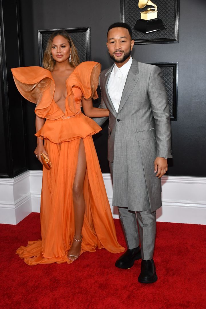 Chrissy Teigen and John Legend at the Grammys in January
