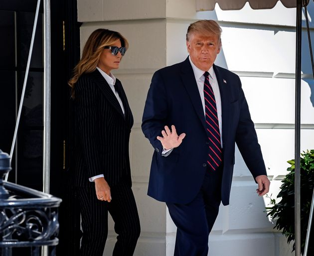 Donald Trump departs the White House with First Lady Melania, in Washington, DC on September