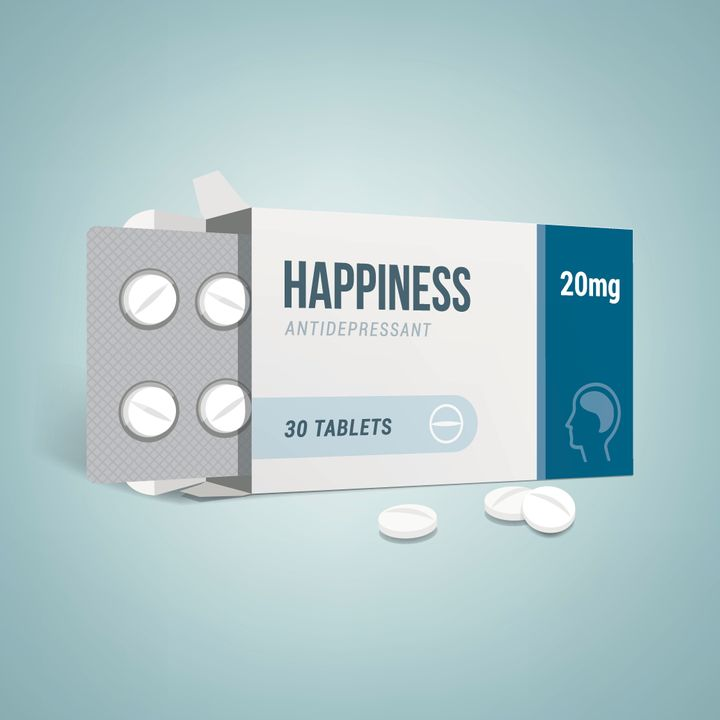 Antidepressants open drug box with pills, depression and anxiety concept