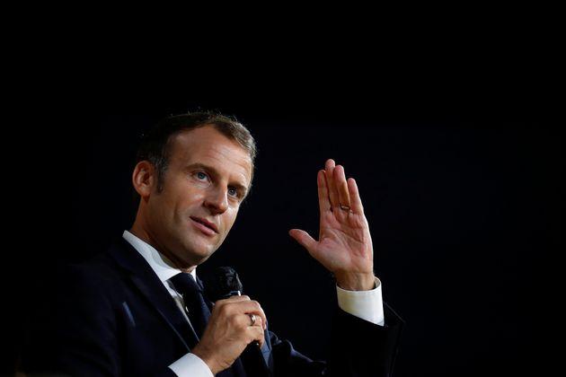 Emmanuel Macron lors d'une conférence de presse Bpifrance à Paris le 1er