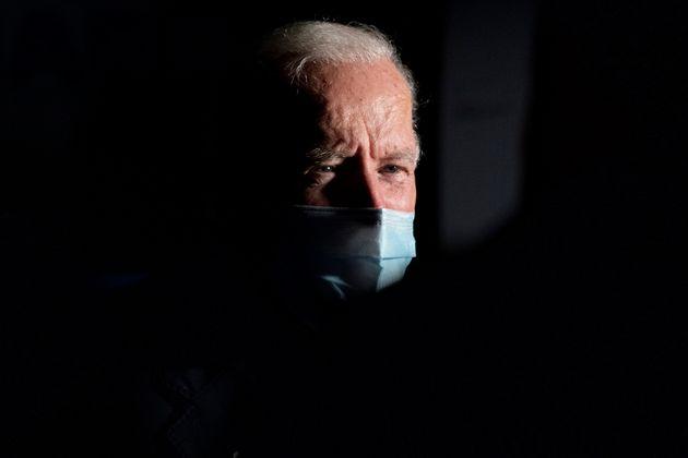 Democratic presidential candidate former Vice President Joe Biden speaks to members of the media before...