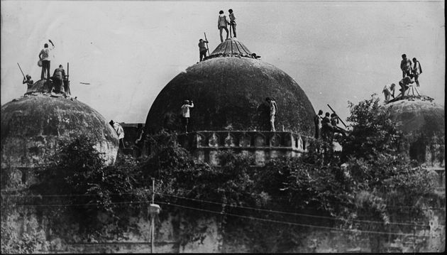 Babri masjid shortly before it was demolished on December 6, 1992 at