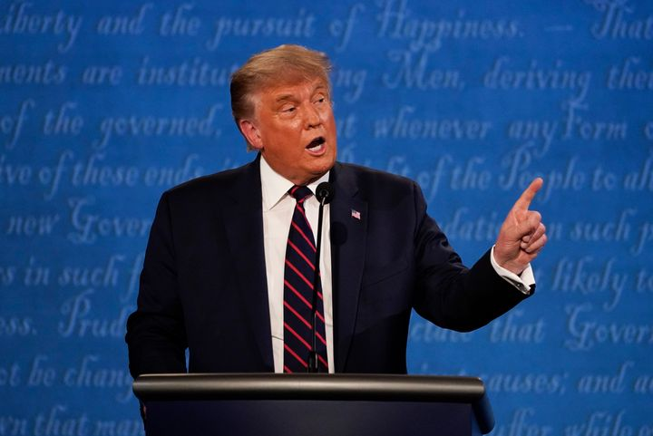 President Donald Trump gestures while speaking during the first presidential debate on Tuesday, Sept. 29, at Case Western Uni