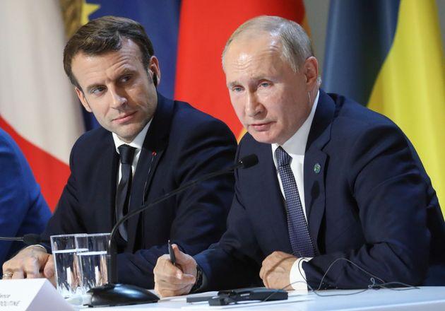 Le président Emmanuel Macron et son homologue russe Vladimir Poutine,ici à Paris en décembre...