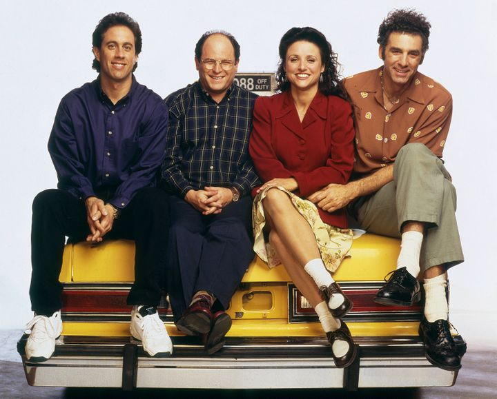 """The cast of """"Seinfeld"""" posing for a Season 6 promotional photo."""