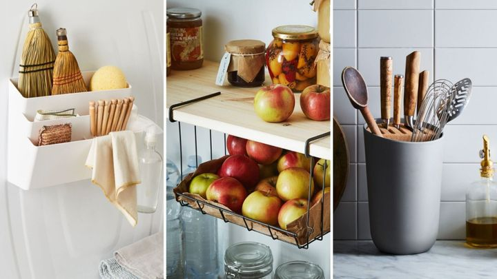 We found small kitchen storage ideas under $50 that'll kick the clutter out of your kitchen.