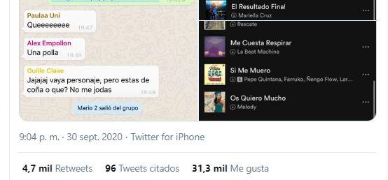 Captura de WhatsApp del tuit