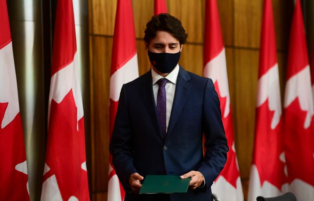Prime Minister Justin Trudeau arrives at a press conference in Ottawa on