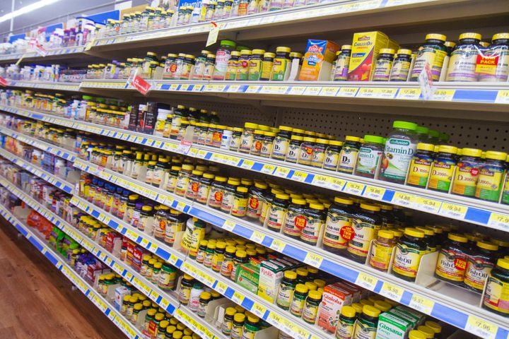 Supplements for sale at a grocery store.