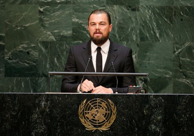 Actor and United Nations Messenger of Peace Leonardo DiCaprio speaks during the U.N. Climate Summit in...