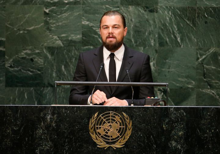 Actor and United Nations Messenger of Peace Leonardo DiCaprio speaks during the U.N. Climate Summit in New York.