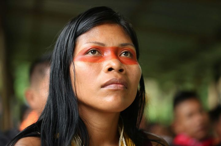 Nemonte Nenquimo wearing traditional Waorani face paint.