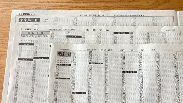日本経済新聞、産経新聞、読売新聞(左上から)