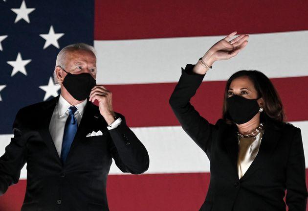 Joe Biden and Kamala Harris at the recent Democratic National Convention