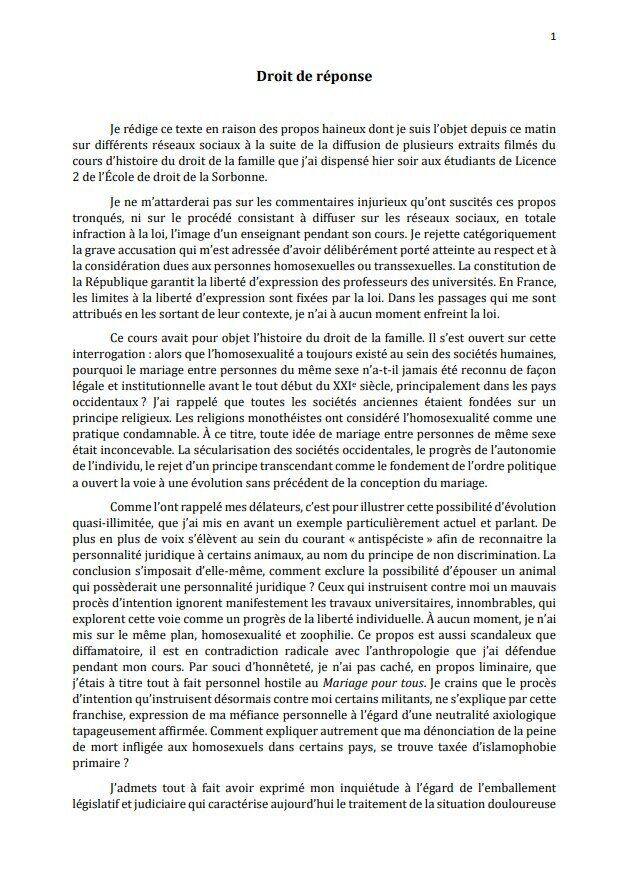 La Sorbonne condamne les propos d'un professeur associant mariage pour tous et