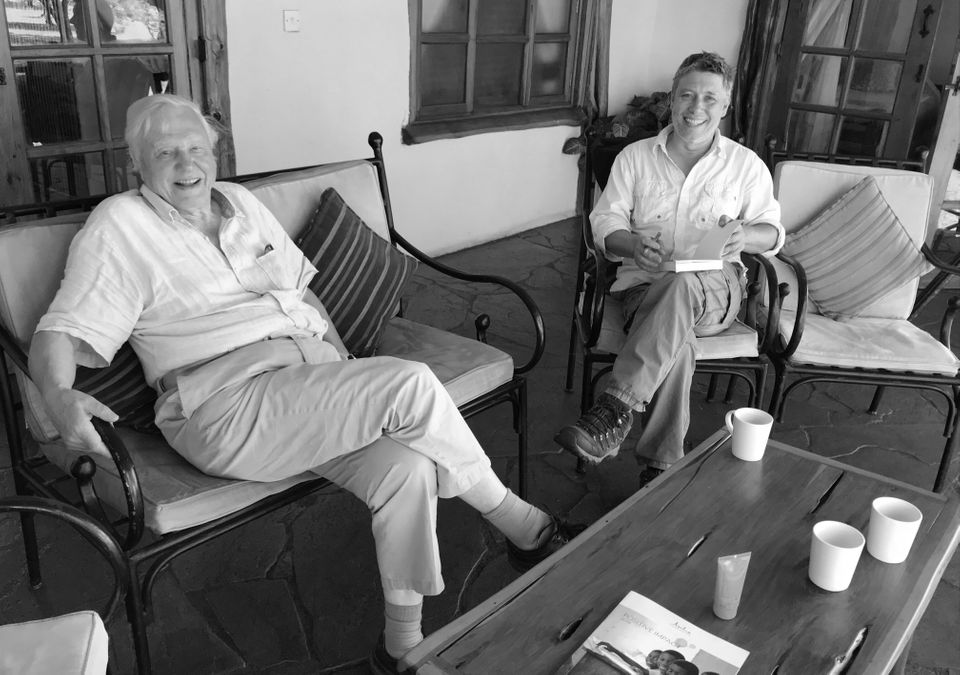 Jonnie Hughes and David Attenborough in Kenya last year for the