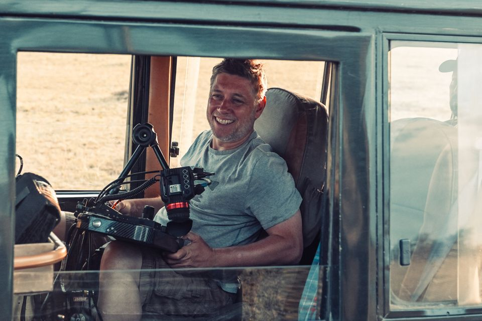 Jonnie Hughes capturing shots for the new film in Kenya