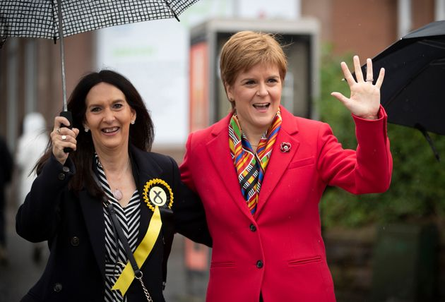 SNP leader Nicola Sturgeon (right) with Margaret Ferrier, SNP candidate for Rutherglen, during the election