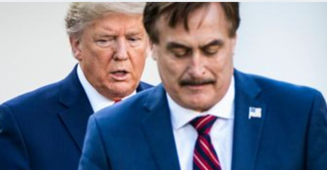 Donald Trump and Mike Lindell at the White House in March.