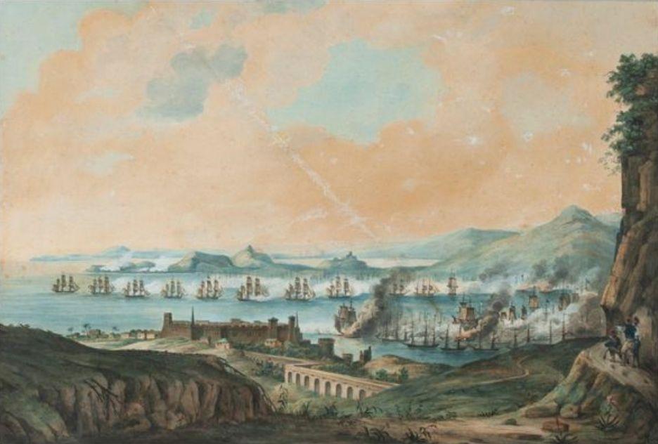 Η ναυμαχία στο Ναβαρίνο, πίνακας Γάλλου ζωγράφου. Φέρει υπογραφή και ημερομηνία «Huet 1828» (συλλογή