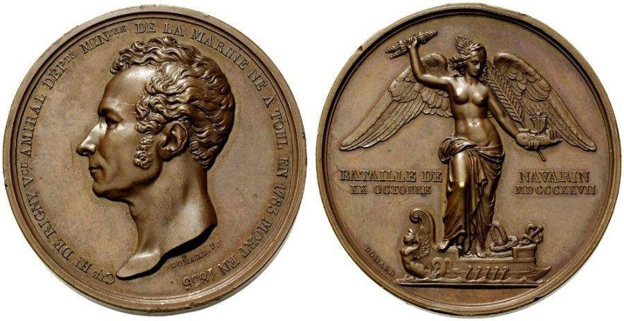 Ο Γάλλος Ναύαρχος, κόμης Henri de Rigny. Αναμνηστικό μετάλλιο του 1835. Η πίσω όψη παρουσιάζει την Νίκη...