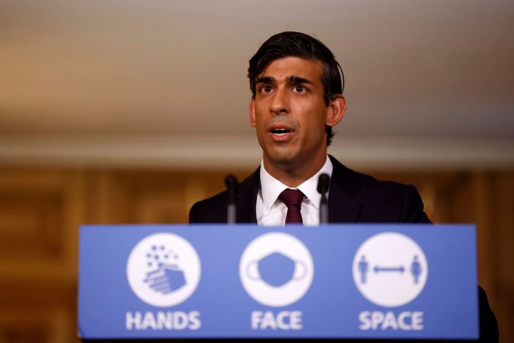 Chancellor of the Exchequer Rishi Sunak holds a virtual news conference in Downing Street