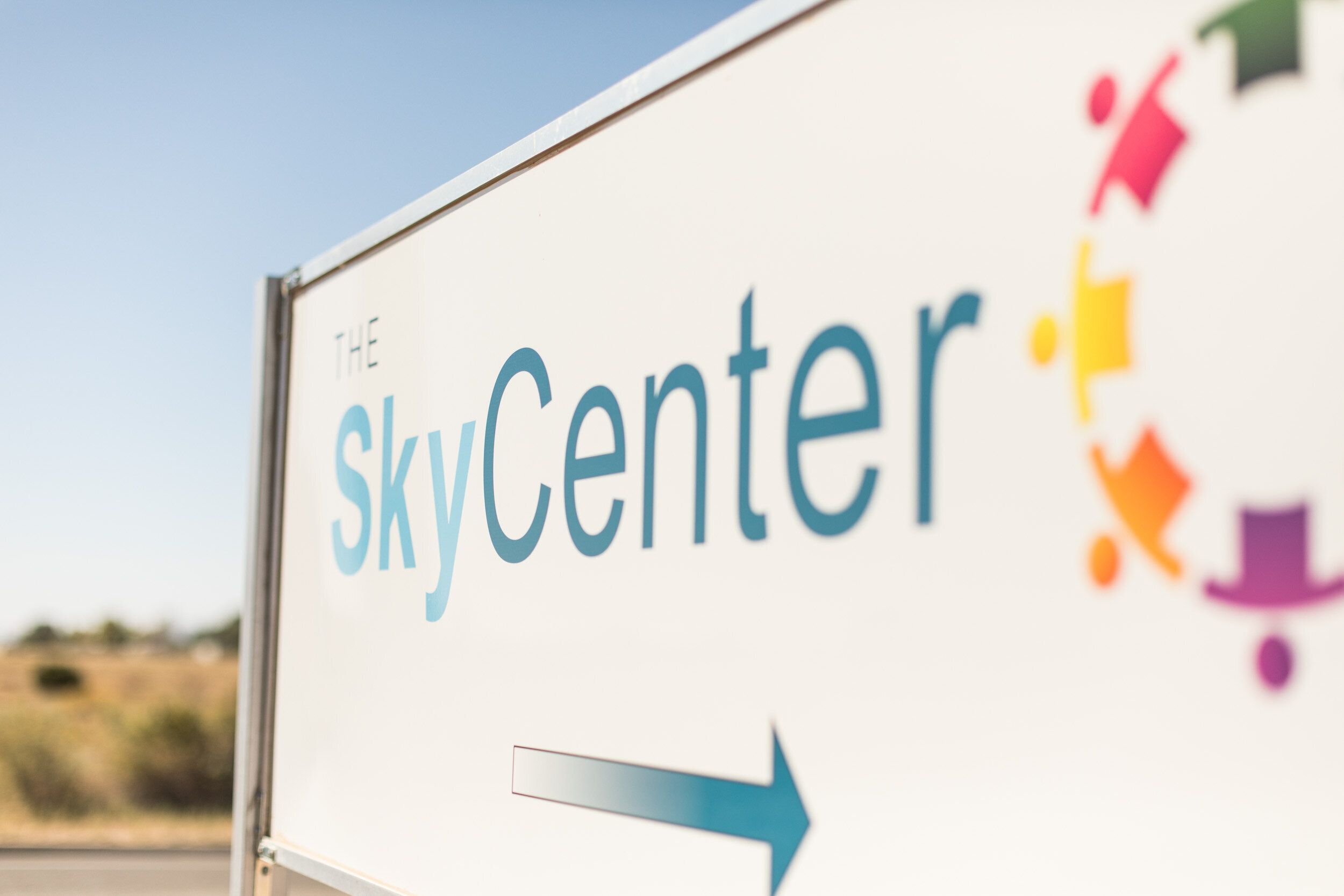 A sign for the Sky Center on the campus of Ortiz Middle School in Santa Fe, New Mexico.