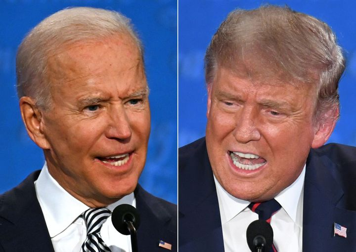Former Vice President Joe Biden, left, and President Donald Trump participated in their first in-person debate on Tuesday. Gi